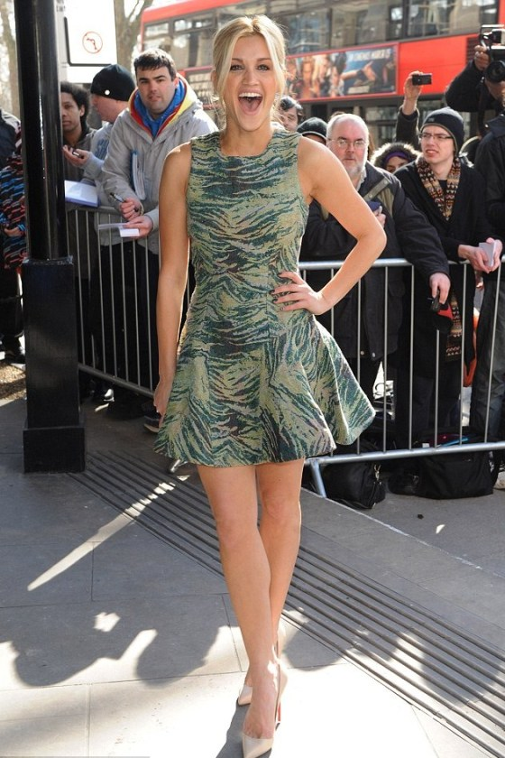 Jungle fever: Ashley Roberts looked wild in her green tiger print dress as she attended the TRIC Awards.