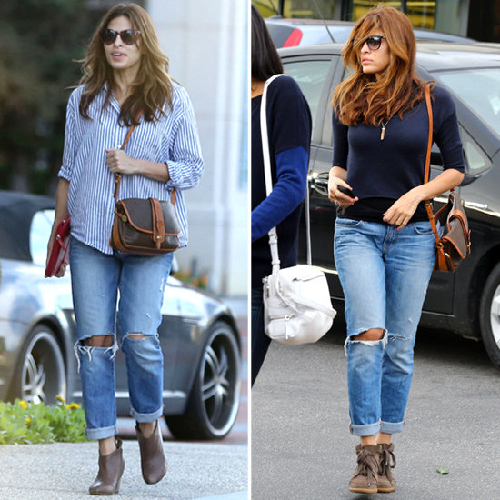 Eva Mendes strolling down the streets with a pair of boyfriend jeans.