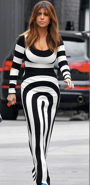 Kourtney Kardashian in Marc Jacobs stripe scuba jersey dress