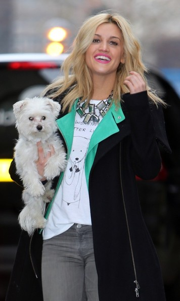 05th April 2013. Ashley Roberts and her dog seen at the the London studios today.