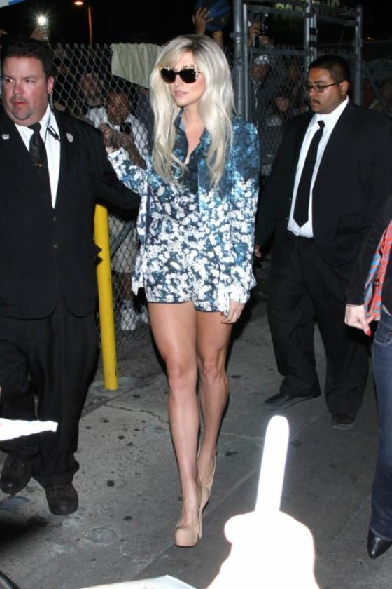 Kesha on her way to Jimmy Kimmel Live  wearing a Floral Set by Dolce & Gabbana Fall 2012.