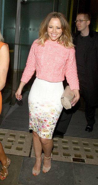 Kimberley Walsh and Denise Van Outen on a girlie night out seen leaving St Martins Hotel after having drinks in the bar in London