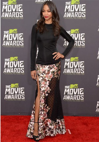 Zoe Saldana in Givenchy at the Mtv 2013 Movie Awards.
