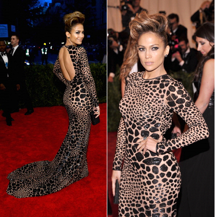 Jennifer Lopez at the Met Gala wearing a Leopard Printed Dress
