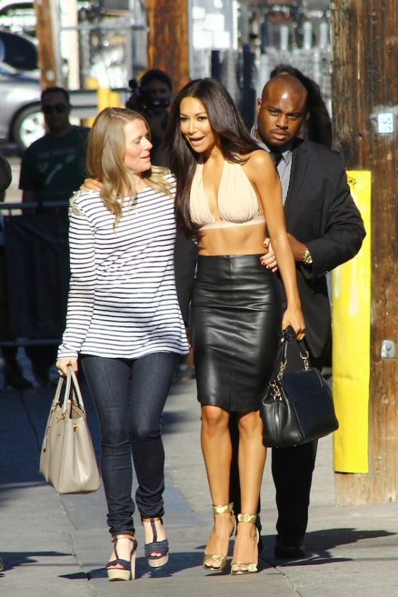 Naya Rivera on her way to Jimmy Kimmel Live!' wearing a beige bralet top.