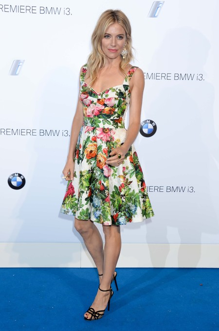 Sienna Miller attends the BMW i3 Global Launch Event in Dolce & Gabbana Floral Print Babydoll Dress