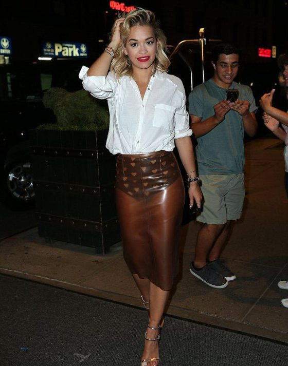 Rita Ora in a Vinyl Burberry Prorsum skirt