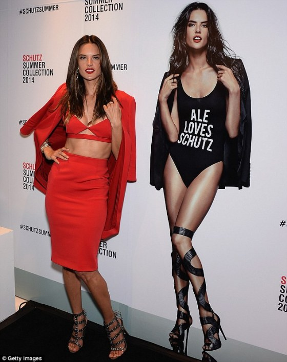 Alessandra Ambrosio looking hot & sexy at the New York fashion launch .