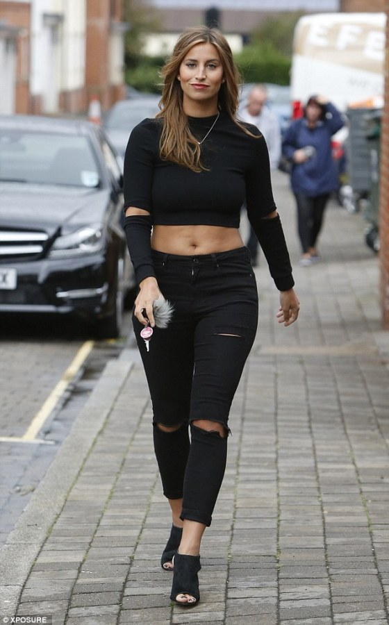 Ferne Mccann out & about wearing a black destroyed used denim.