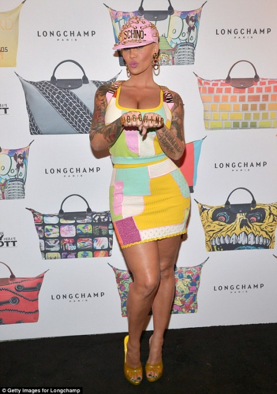Amber Rose from head to toe in Jeremy Scott while attending the Jeremy Scott bash.